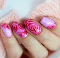Дизайн ногтей розы по мокрому видео