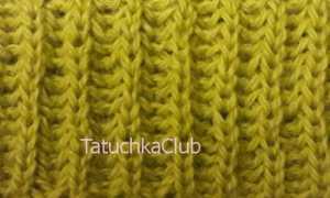 Двухцветная английская резинка спицами по кругу видео